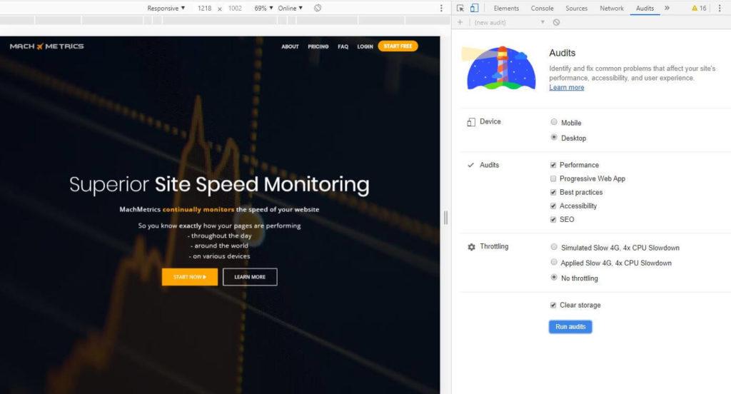 Accessing Google Lighthouse audits through Chrome