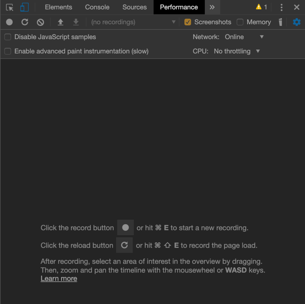 The Performance tab in DevTools