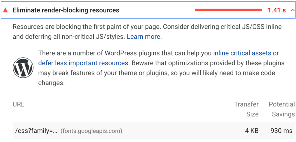 Google fonts result on PageSpeed Insights